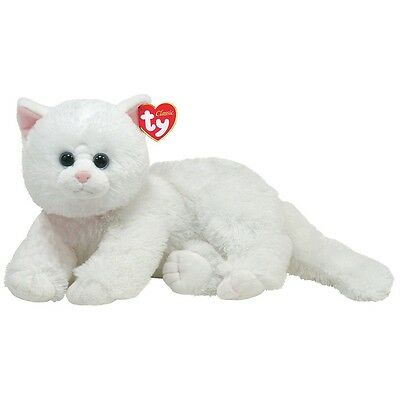 """Ty Classic 14"""" Plush CRYSTAL the WHITE PERSIAN CAT ~NEW~"""
