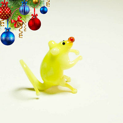 VIDEO tiny miniature glass Mouse yellow blown glass Murano handcraft figurine