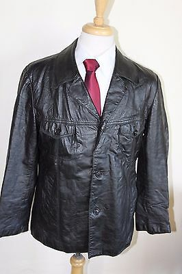 vintage MENS 70S RETRO BLACK REAL LEATHER SAFARI JACKET COAT BY SZ 46