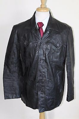 vintage MENS 70S RETRO BLACK REAL LEATHER SAFARI JACKET COAT BY SZ 44