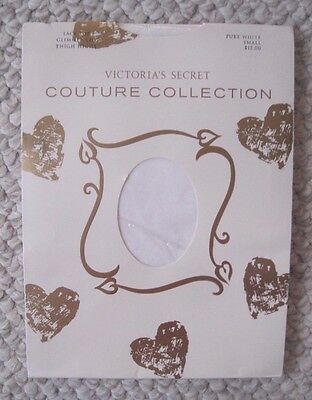 New Victoria's Secret Pure White Lace Top Glimmer Leg Thigh Highs Size S