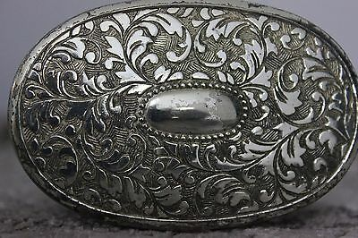 Vintage Silver plated full engraved detail oval trinket Pill Pot box
