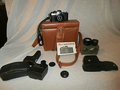 Lot Pentax System Auto 110 Mini Camera with Cases, Lenses, Flash, Winder, Manual
