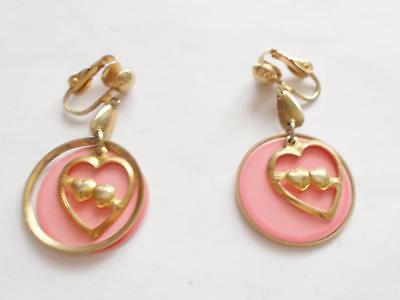 Vintage 1960's Gold Tone Pink Enamel Love Hearts Valentines Clip On Earrings