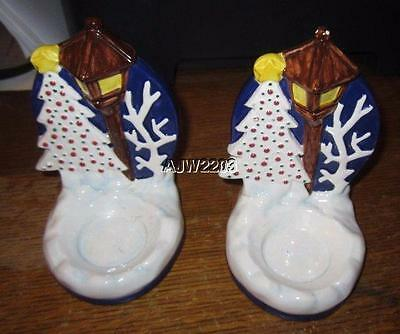 """NORITAKE """"TWAS THE NIGHT BEFORE CHRISTMAS"""" CANDLE VOTIVE set of 2"""