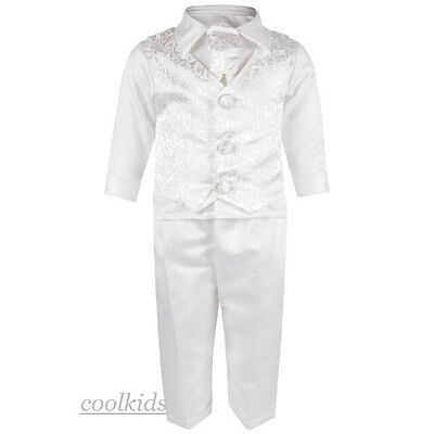 Baby Boys Christening Outfit,Baptism Suit, White  paisley Chistening Suit,