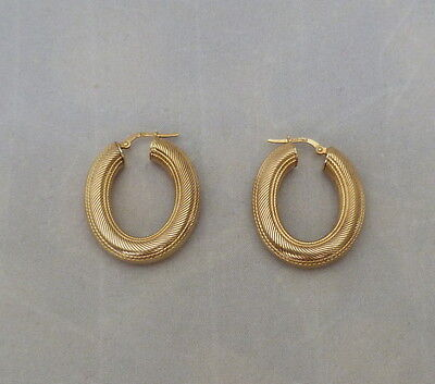 "1 1/4"" 14K Gold Italy Rj Textured Puffy Hoop Snap Clasp Earrings 6.9 Grams New"