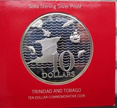 1972 Trinidad And Tobago  Silver Proof 10Th Anniversary  10 Dollar Coin