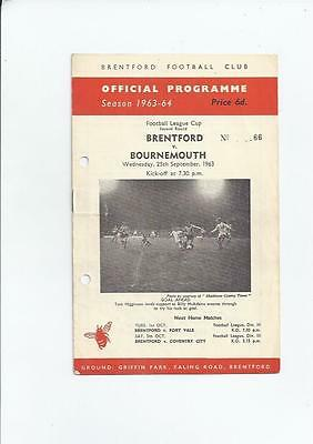 Brentford v Bournemouth League Cup Football Programme 1963/64