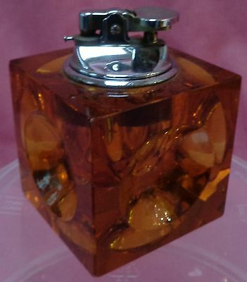 1960s Retro Amber Glass Table Cigarette Lighter