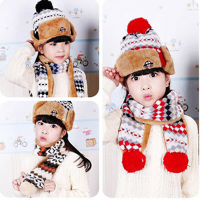 Child Kids Baby Boy Girl Winter Warm Knit Beanie Hat Ski Cap+Long Scarf 2PCS/Set