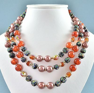 Vintage Necklace 1960s Three Strand Art Glass Crystal & Faux Pearl Jewellery