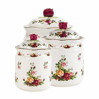 Royal Albert Old Country Roses Canisters Set of 3 NEW IN THE BOX