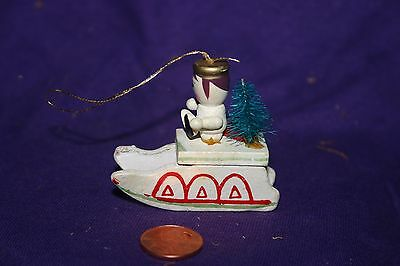 Vintage 1970's  Wooden Wood Angel Sled Sleigh Ornament