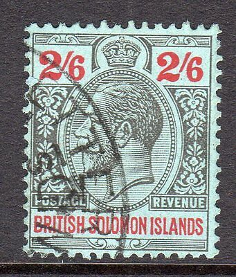 British Solomon Islands KGV 1922-31 (Wmk Script) 2s6d Black & Red/Blue SG50 Used