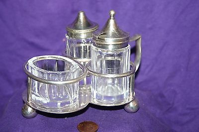 Vintage Four Piece Glass Condiment Set with Silver Plated Caddy