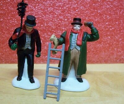 Dept. 56 Town Crier and Chimney Sweep (Set of 2)  #55697 plus ladder