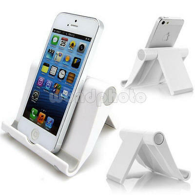 Universal Cell Phone Desk Stand Holder For Tablet Mini Samsung iPhone HTC White