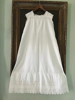 Antique Victorian Dress slip petticoat Embroidery White cotton Large Very  good