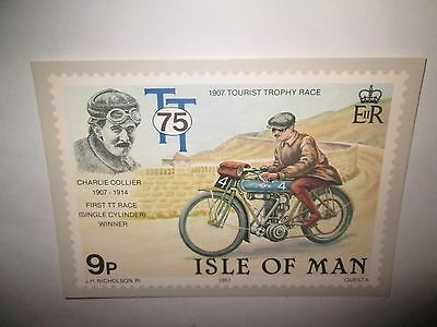 1907 TT CHARLIE COLLIER 75th ANNIVERSARY OF THE TOURIST TROPHY  POST CARD