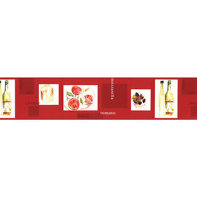 Norwall Kitchen Italian Wall Border Paper KB79733 Cheese Olive Oil Tomato Red