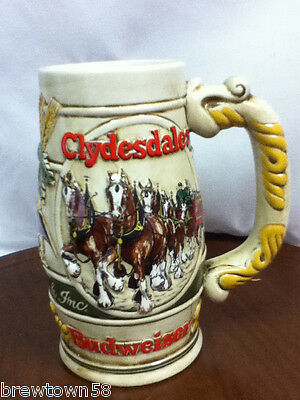 Budweiser beer stein beer glass Clydesdale horses holiday Anheuser-Busch BI9