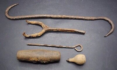 Group Of Early Iron Tools And Wooden Handles, Thames Foreshore Finds