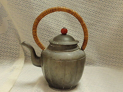 Antique Small 19C. (?) Pewter Chinese Teapot with red glass finial ~ Signed