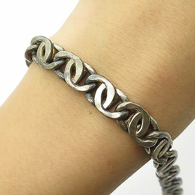 Italy 925 Sterling Silver Wide Men's Unique Link Bracelet 7.5""