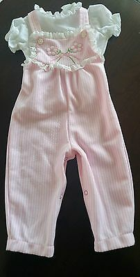 Vintage Carters Baby Toddler Girl 2 Piece Outfit Shirt & Overalls~PINK~18 Months