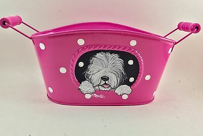 Cute hot pink, polka dot metal  container with hand painted Old English Sheepdog
