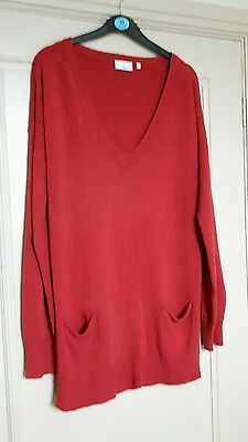 New Look Size 14 Womens Red Long V Neck Jumper With Pockets
