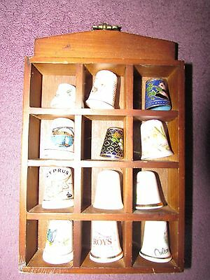12 Collectable Thimbles And Wooden Case