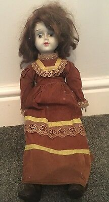 Vintage Old White Face Porcelain Doll Painted Face Old Style Brown Dress & Boots