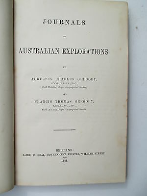 1884 Journals Australian Explorations Gregory 1st edition marbled boards/leather