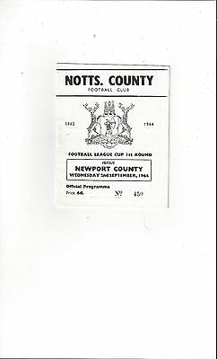 Notts County v Newport County League Cup Football Programme 1964/65