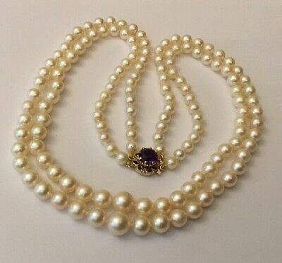 Hallmarked 9ct 9k Gold Double Row Graduated Pearl Necklace Amethyst Clasp