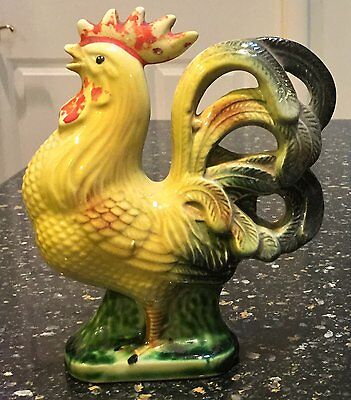 """Vintage Hand-Painted 5.5"""" Tall Rooster Ceramic Figurine"""