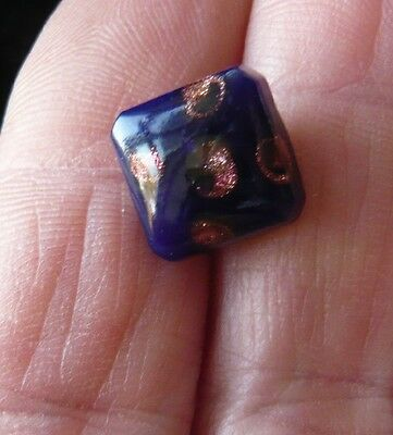 single antique glass button royal blue with metallic detail