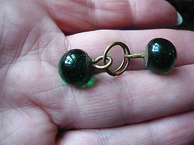 pair of  antique green glass buttons