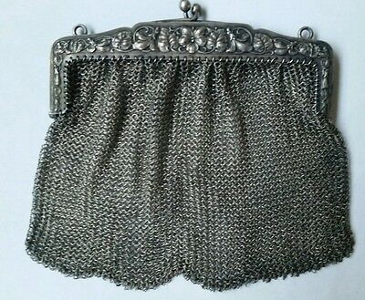 Antique Art Nouveau Victorian French 800 Silver Mesh Purse 110 Grams 4 Oz