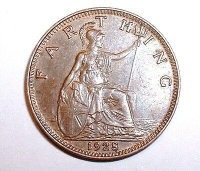 Near UNC 1928 Britain - Farthing - George V KM# 825  Very Good Detail NO RESERVE