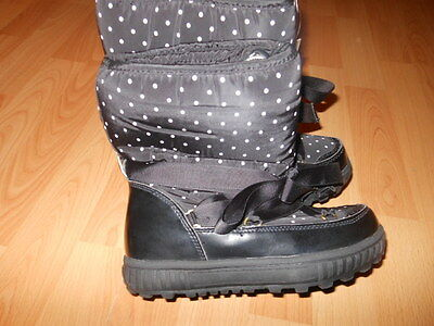 Bnwts Next Girls Black Snow Boots with White Polka Dots Fits Size 4 Eu 37