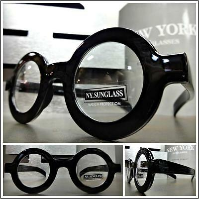 Men's VINTAGE RETRO Style Clear Lens EYE GLASSES Thick Round Black Fashion Frame