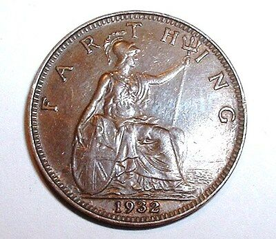 Near UNC 1932 Britain - Farthing - George V KM# 825  Very Good Detail NO RESERVE