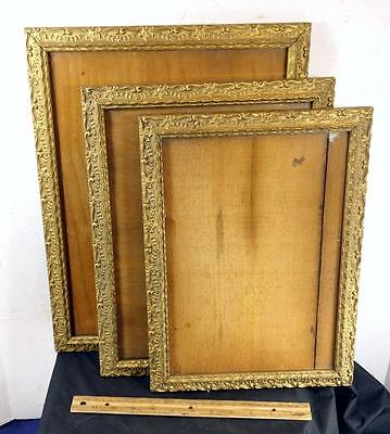 NICE Set of 3 Antique Decorated Raised Gold Floral Picture Frames !