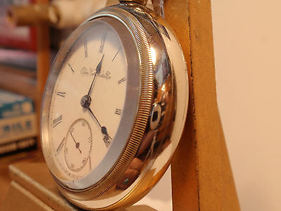 Nice Elgin 18SZ Pocket Watch in Silveroid Case +Fob - Keeps Perfect Time