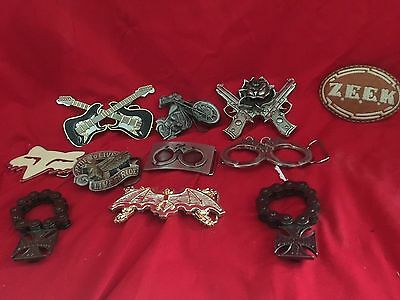 9 (Nine) Collectable Belt Buckles and 2 Unique bottle openers