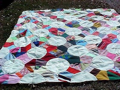 "HUGE Beautiful Vintage Patchwork QUILT TOP 110 x 108"" VERY MOD"