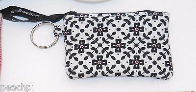 Longaberger KEY RING COIN PURSE Black White Red Flower Pouch NWOT